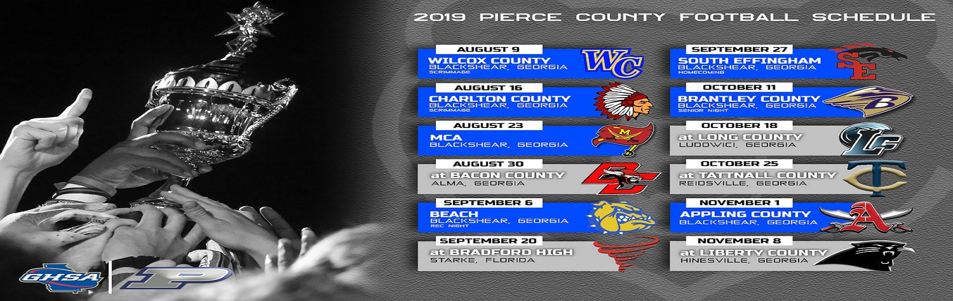 2019 PCHS Varsity Football Schedule