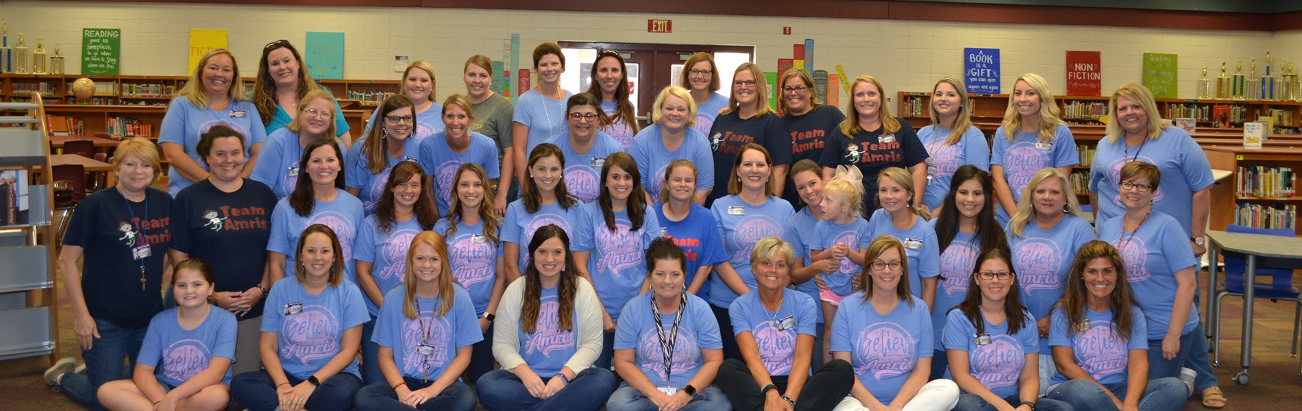 BES Faculty wearing Team Amris tshirts