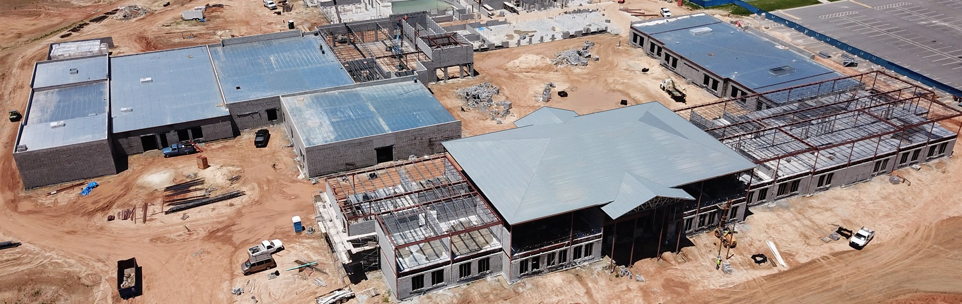 The new high school building during construction